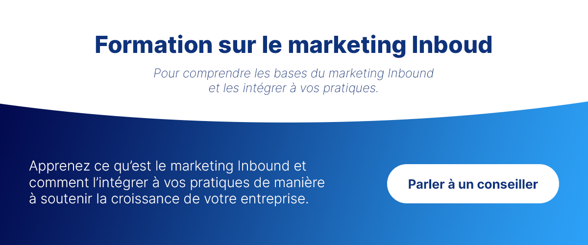Bouton pour prendre rendez-vous pour une formation sur le marketing Inboud