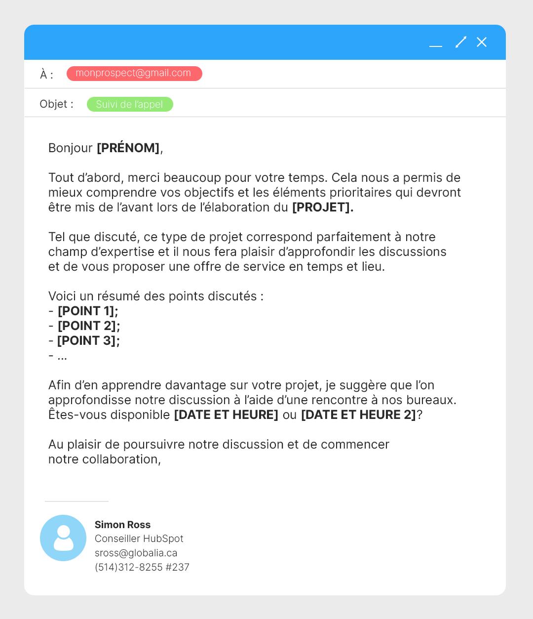 Modèles de courriels - prospect positif