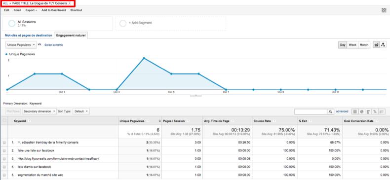 Capture d'écran rapport personnalisé Google Analytics